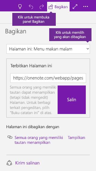 Cuplikan layar saat berbagi sebuah halaman di OneNote