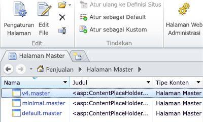 Halaman master SharePoint 2010