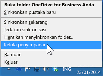 Mengelola penyimpanan OneDrive for Business Anda