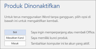 Cuplikan layar yang memperlihatkan pesan kesalahan Produk Dinonaktifkan