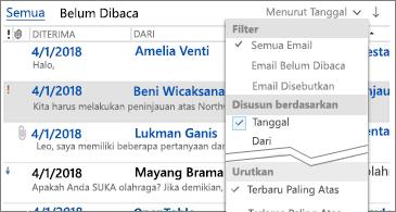Daftar filter yang tersedia untuk mengurutkan pesan