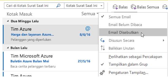 Menu yang memperlihatkan opsi Email Disebut