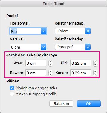 Mengatur spasi di antara tabel yang dipilih dan teks isi di bawah Jarak dari teks sekitarnya.