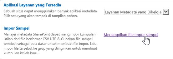 Tampilkan file impor sampel