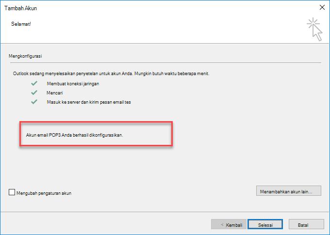 Outlook menambahkan akun sebagai POP