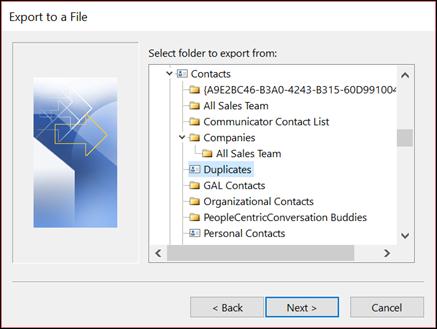 Ekspor dari folder duplikat.