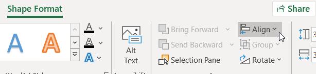 Perintah Ratakan pada tab format bentuk