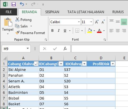 memperluas tabel di Excel