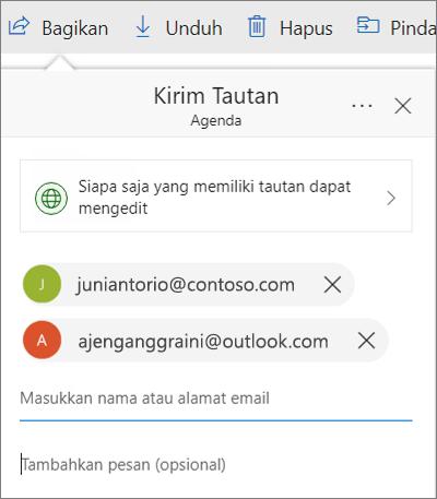 Kotak dialog berbagi file di OneDrive dengan alamat email ditambahkan