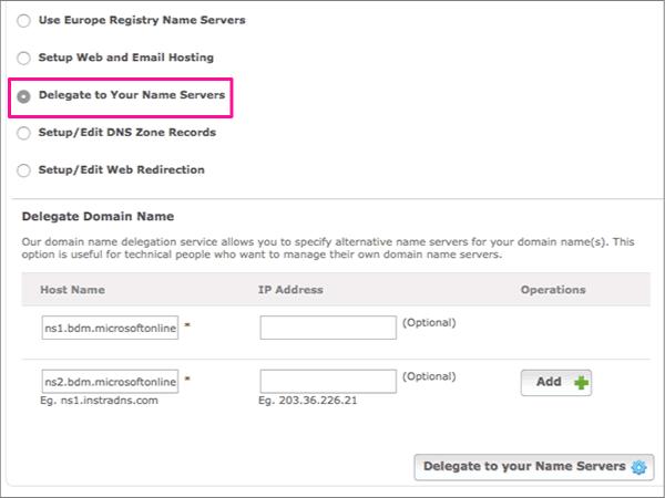 Pilih Delegasikan ke Server Nama Anda
