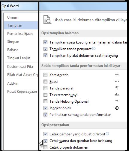 Warna latar belakang Cetak dan kotak centang Gambar di kotak dialog opsi Word