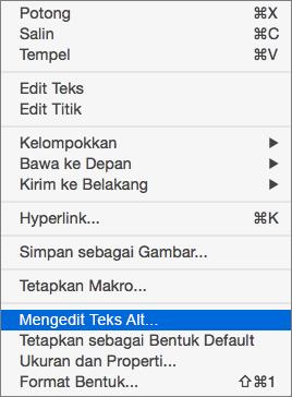Menu Excel 365 Edit teks Alt untuk bentuk