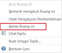 Cuplikan layar daftar turun bawah dengan kelola ruang ini dipilih