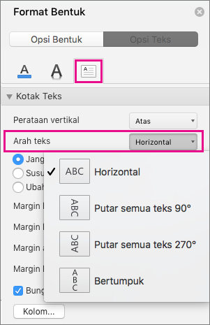 Arah teks disorot dalam panel Format Bentuk.