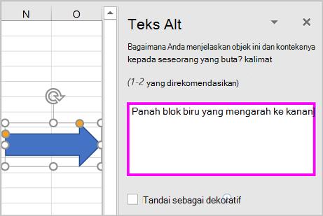 Panel teks ALT dan contoh teks Alt untuk bentuk panah.