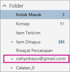 Daftar folder dengan akun Gmail disorot