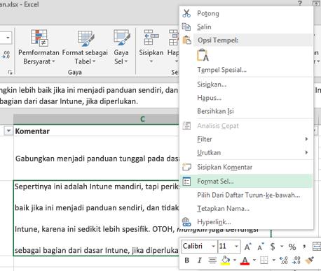Pada menu klik kanan, klik Format Sel.
