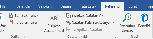 Peneliti Word pada tab Referensi