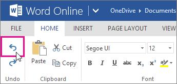 membatalkan perubahan di Word Online