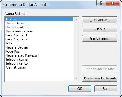 Kotak dialog daftar alamat kustomisasi