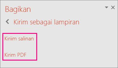 Memperlihatkan tautan Kirim PDF di PowerPoint 2016