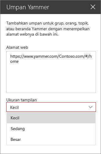 Kotak Alamat web Yammer feed