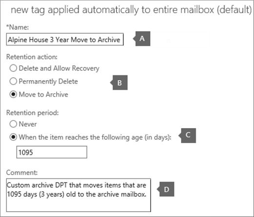 Pengaturan untuk membuat tag kebijakan Arsip default baru