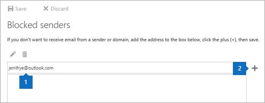 Cuplikan layar halaman pengirim yang diblokir.