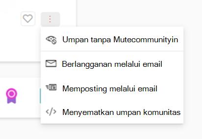 Cuplikan layar memperlihatkan unmuting komunitas Yammer baru