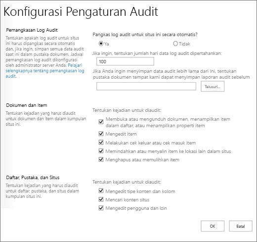Mengonfigurasi pengaturan audit dalam dialog Pengaturan situs