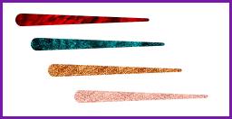 Menunjukkan empat contoh warna tinta, yaitu lava, biru laut, perunggu, dan emas kemerahan.