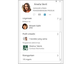 Kartu kontak dengan informasi LinkedIn