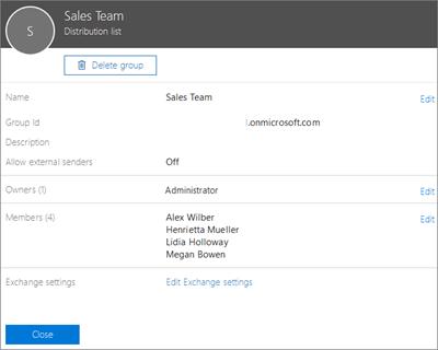 Cuplikan layar: Menambahkan kontak ke daftar distribusi