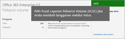 Tautan Pusat Layanan Lisensi Volume (VLSC).