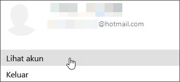Cuplikan layar memperlihatkan Tampilkan akun dari Akun menurun saya