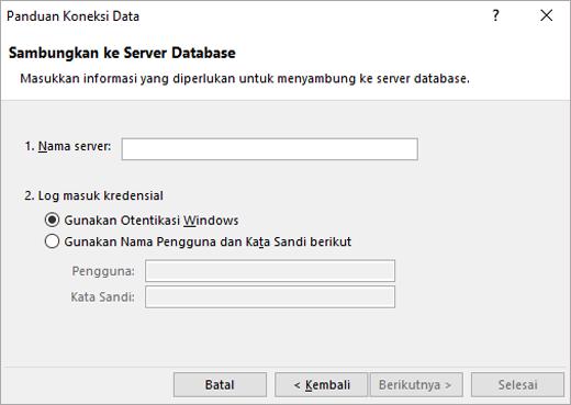 Layar panduan koneksi data 1