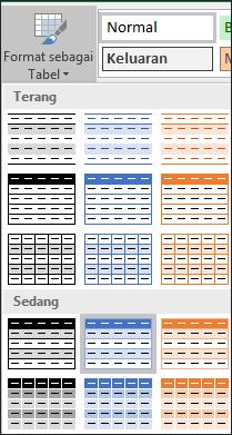 Pilihan Galeri Gaya Excel untuk Format sebagai Tabel