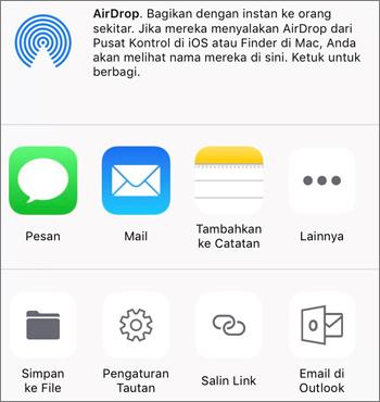 Cuplikan layar tombol Simpan Foto di aplikasi OneDrive pada iOS