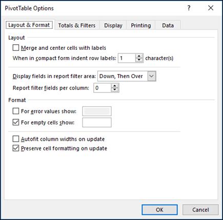 Dialog Opsi PivotTable