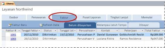 Tab Faktur dari templat database Layanan