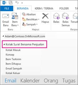 Kotak surat bersama tampil dalam Daftar Folder di Outlook