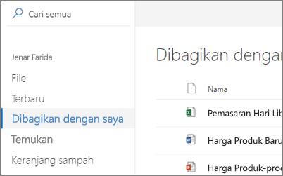 Cuplikan layar dibagikan dengan saya Tampilkan di OneDrive for Business