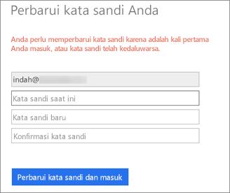 Office 365 meminta pengguna untuk membuat kata sandi baru.