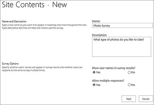 Kotak dialog survei baru dengan kotak teks diisi.