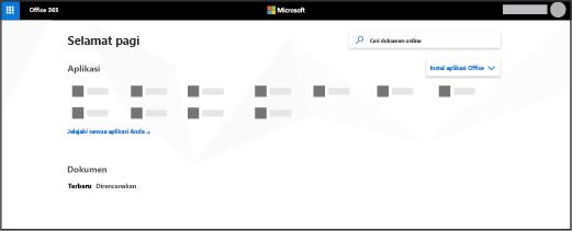 Halaman beranda Office 365
