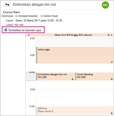 Klik Tambahkan ke tombol kalender saya untuk menambahkan acara grup ke kalender pribadi Anda