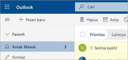 Cuplikan layar email di Outlook di web beta