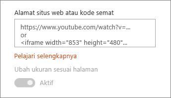 Menempelkan video URL atau kode Semat ke bidang