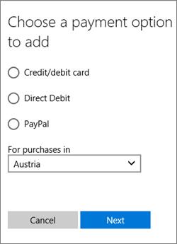 Menu Pilih opsi pembayaran, memperlihatkan opsi yang tersedia untuk Austria.