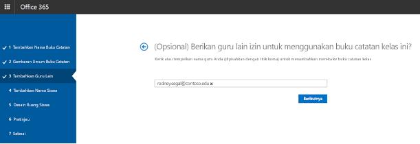 Cuplikan layar langkah opsional tambahan guru izin.